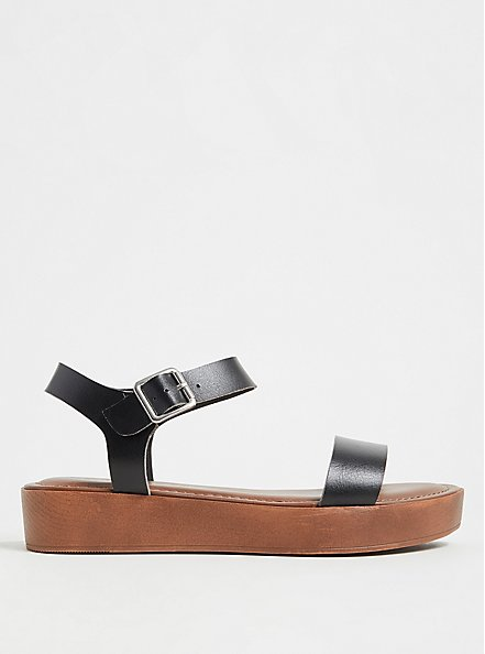 Black Faux Leather Ankle Strap Faux Wood Flatform Sandal (WW), BLACK, hi-res