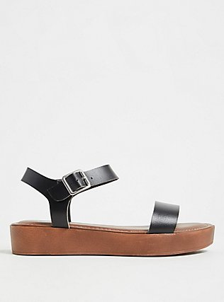 Black Faux Leather Ankle Strap Flatform Sandal (WW), BLACK, hi-res