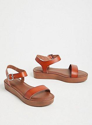Plus Size Cognac Faux Leather Ankle Strap Flatform Sandal (WW), COGNAC, alternate