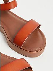 Plus Size Cognac Faux Leather Ankle Strap Faux Wood Flatform Sandal (WW), COGNAC, alternate