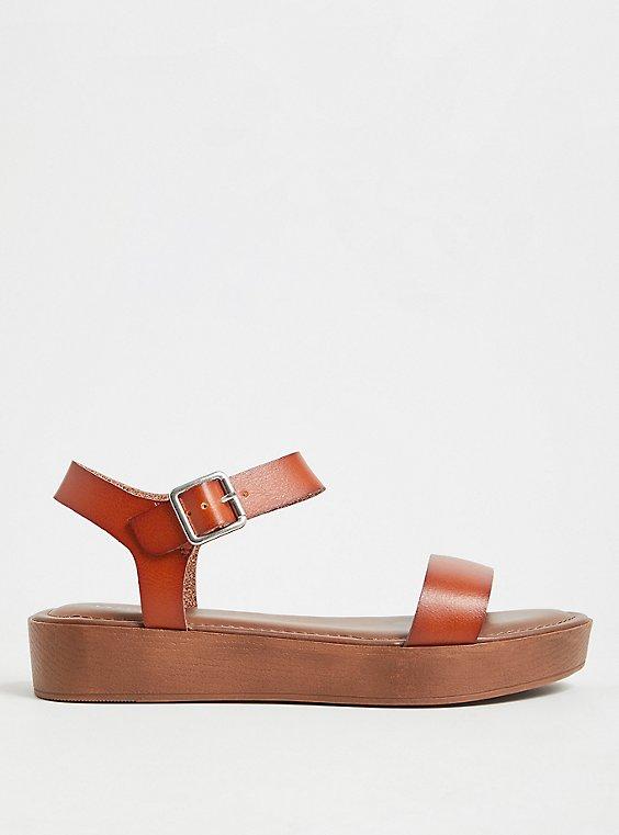 Plus Size Cognac Faux Leather Ankle Strap Faux Wood Flatform Sandal (WW), , hi-res
