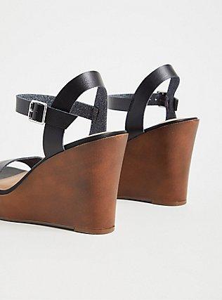 Plus Size Black Faux Leather Platform Wedge (WW), BLACK, alternate