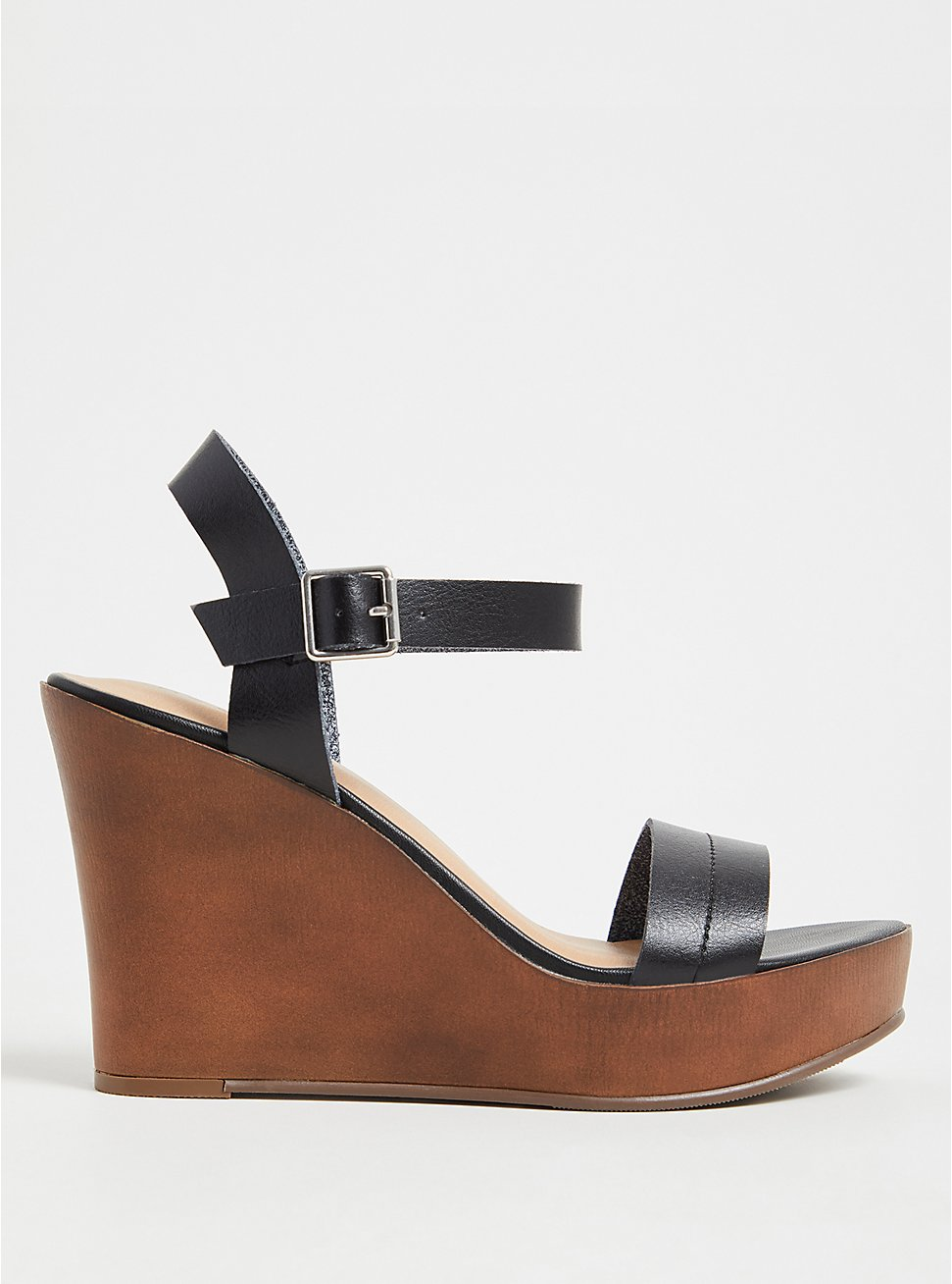 Black Faux Leather Platform Wedge (WW), BLACK, hi-res