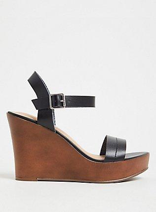 Plus Size Black Faux Leather Platform Wedge (WW), BLACK, hi-res