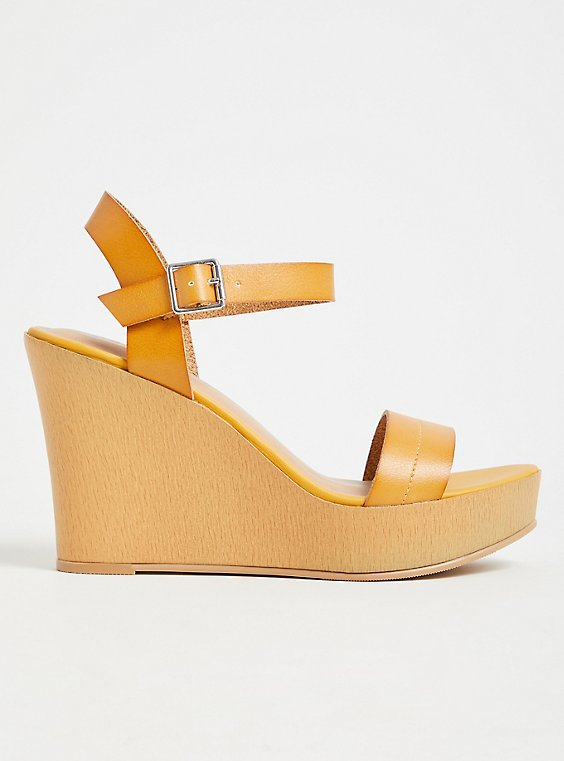 Mustard Yellow Faux Leather Platform Wedge (WW), , hi-res