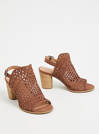 Chestnut Faux Leather Laser Cut & Braided Heel (WW), BROWN, alternate