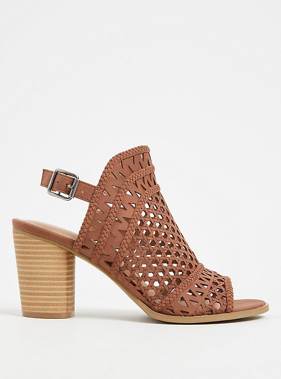 Plus Size Chestnut Faux Leather Laser Cut & Braided Heel (WW), , hi-res