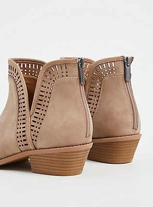 Taupe Faux Suede Laser V-Cut Ankle Boot (WW), TAN/BEIGE, alternate