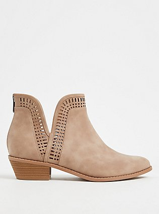 Plus Size Taupe Faux Suede Laser V-Cut Ankle Boot (WW), TAN/BEIGE, hi-res