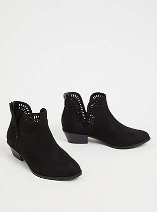 Black Faux Suede Laser V-Cut Ankle Boot (WW), BLACK, alternate