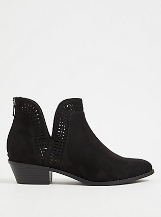 Black Faux Suede Laser V-Cut Ankle Boot (WW), BLACK, hi-res
