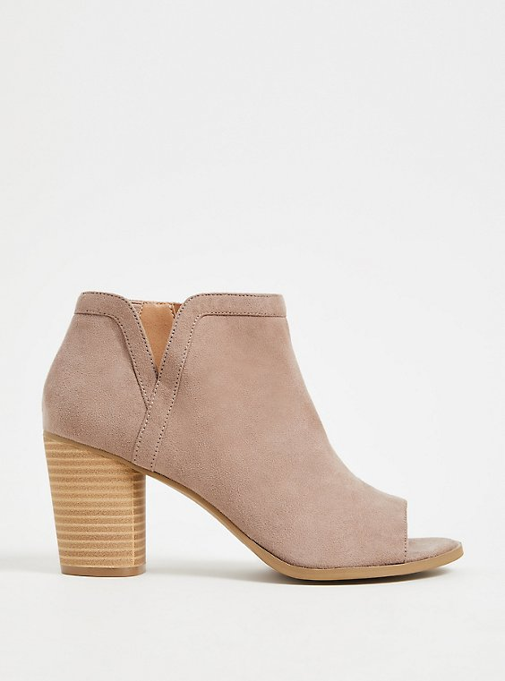 Plus Size Taupe Faux Suede V-Cut Ankle Shootie (WW), , hi-res
