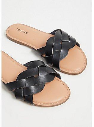 Plus Size Black Faux Leather Braided Slide (WW), BLACK, alternate