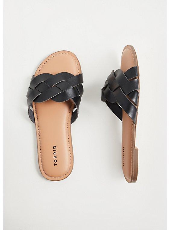 Black Faux Leather Braided Slide (WW), , hi-res