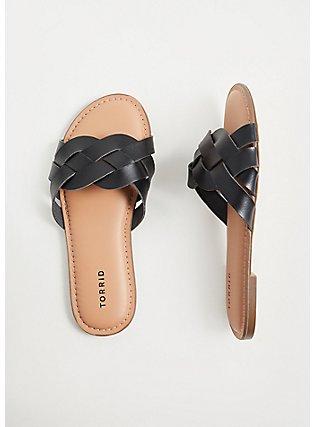 Plus Size Black Faux Leather Braided Slide (WW), BLACK, hi-res