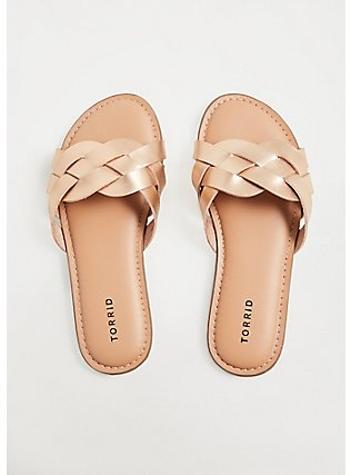 Rose Gold-Tone Faux Leather Braided Slide (WW), ROSE GOLD, alternate