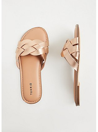 Plus Size Rose Gold-Tone Faux Leather Braided Slide (WW), ROSE GOLD, hi-res
