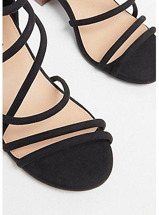 Plus Size Black Faux Suede Strappy Block Heel (WW), BLACK, alternate