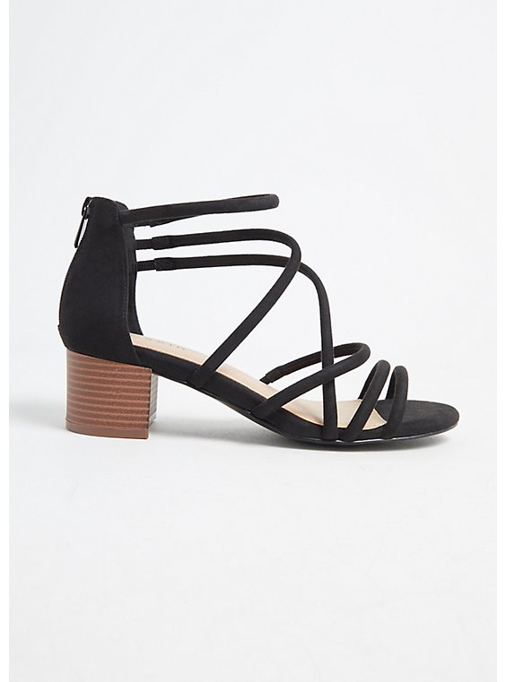 Plus Size Black Faux Suede Strappy Block Heel (WW), , hi-res