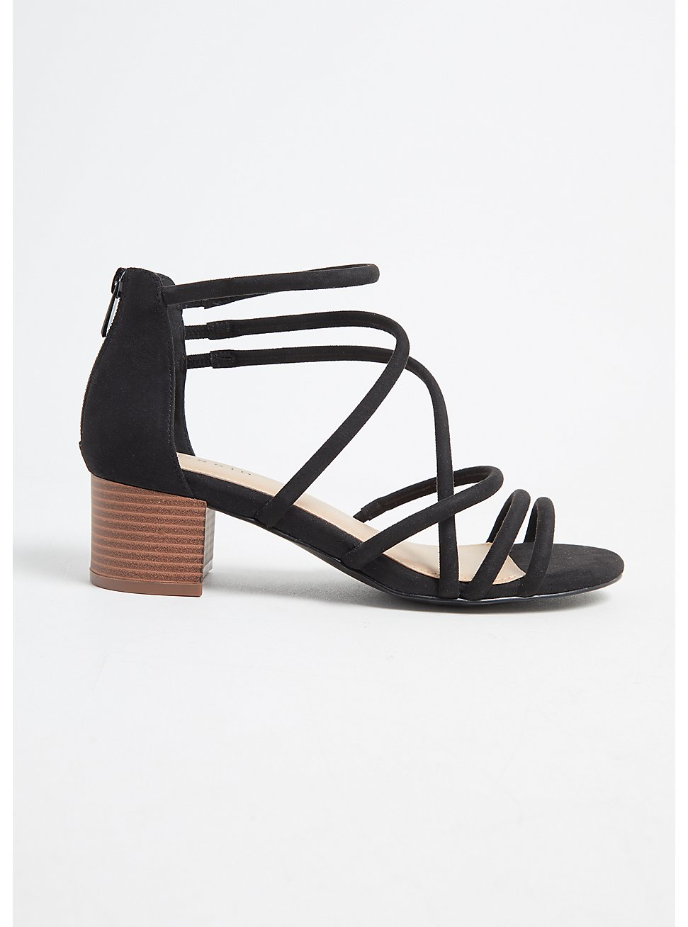 Black Faux Suede Strappy Block Heel (WW), BLACK, hi-res
