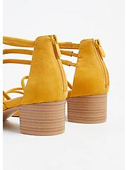 Mustard Yellow Faux Suede Strappy Block Heel (WW), YELLOW, alternate