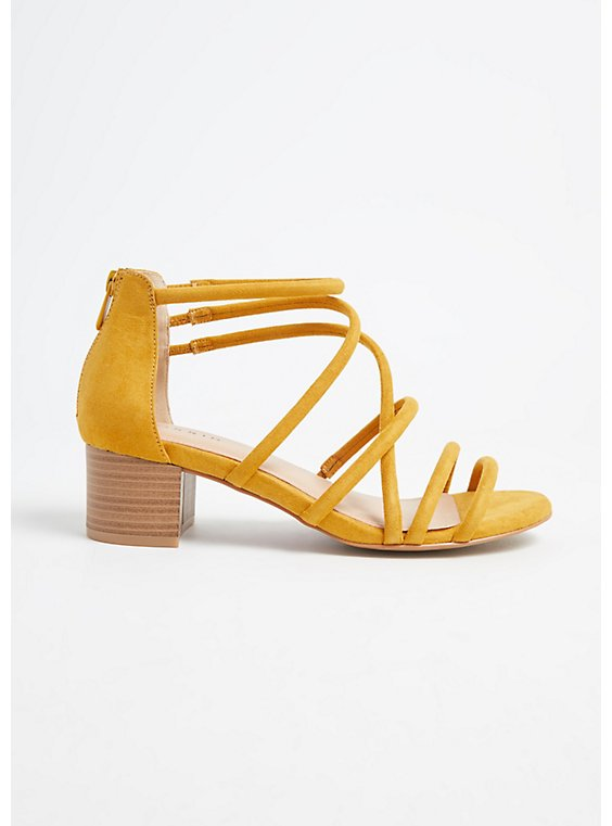 Mustard Yellow Faux Suede Strappy Block Heel (WW), , hi-res