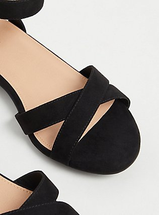 Black Faux Suede Ankle Strap Low Block Heel (WW) , BLACK, alternate