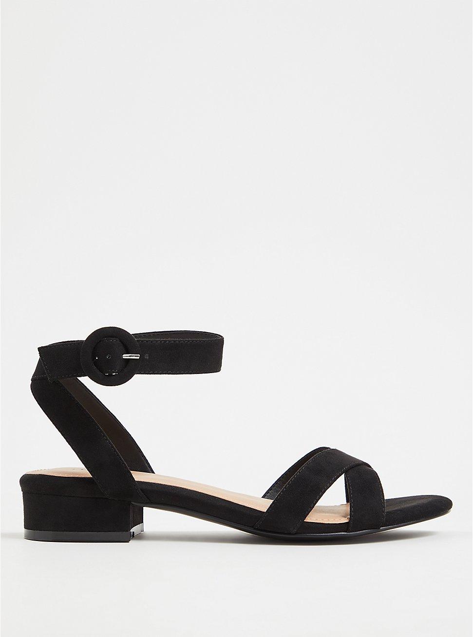 Black Faux Suede Ankle Strap Low Block Heel (WW) , BLACK, hi-res