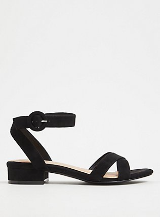 Black Faux Suede Ankle Strap Low Block Heel (WW) , BLACK, hi-res