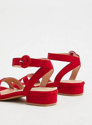 Red Faux Suede Ankle Strap Low Block Heel (WW), RED, alternate