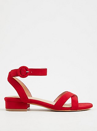 Red Faux Suede Ankle Strap Low Block Heel (WW), RED, hi-res