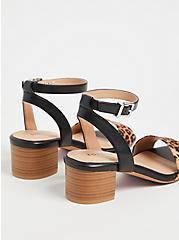 Black Faux Leather & Leopard Ankle Strap Block Heel (WW), ANIMAL, alternate