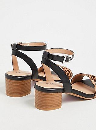 Plus Size Black Faux Leather & Leopard Ankle Strap Block Heel (WW), ANIMAL, alternate