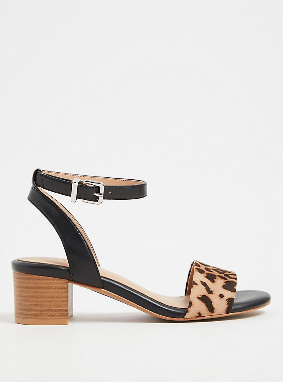 Black Faux Leather & Leopard Ankle Strap Block Heel (WW), , hi-res