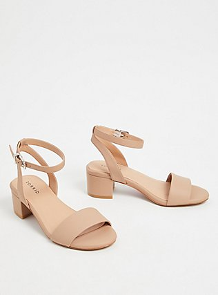 Nude Faux Leather Ankle Strap Block Heel (WW), NUDE, alternate