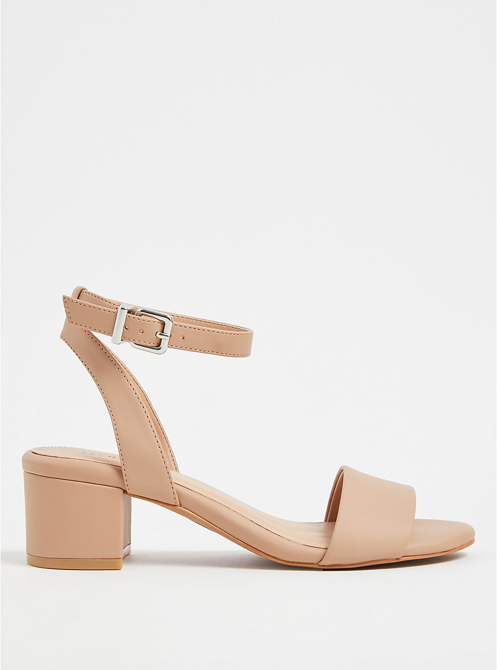 Nude Faux Leather Ankle Strap Block Heel (WW), , hi-res