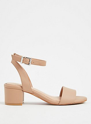 Nude Faux Leather Ankle Strap Block Heel (WW), NUDE, hi-res