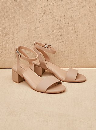 Nude Faux Leather Ankle Strap Block Heel (WW), NUDE, pdped