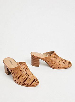 Cognac Faux Leather Laser Cut Mule (WW), COGNAC, alternate