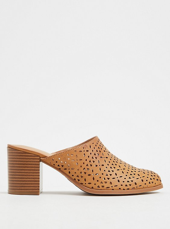 Plus Size Cognac Faux Leather Laser Cut Mule (WW), , hi-res