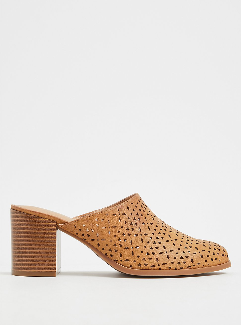 Cognac Faux Leather Laser Cut Mule (WW), COGNAC, hi-res