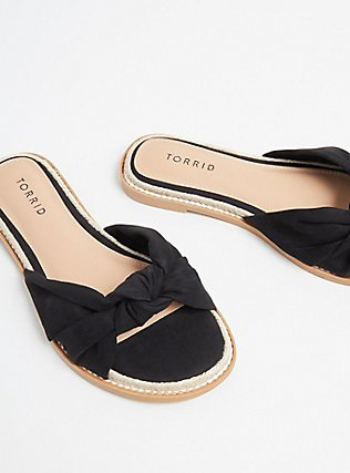 Black Top Knot Espadrille Sandal (WW) , BLACK, alternate