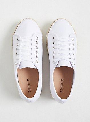 Plus Size White Canvas Flatform Espadrille Sneaker (WW), TAN/BEIGE, alternate