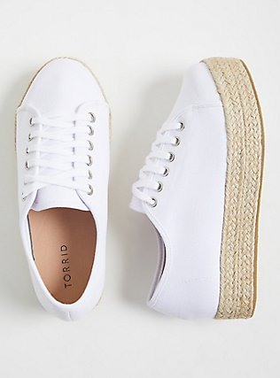 Plus Size White Canvas Flatform Espadrille Sneaker (WW), TAN/BEIGE, hi-res