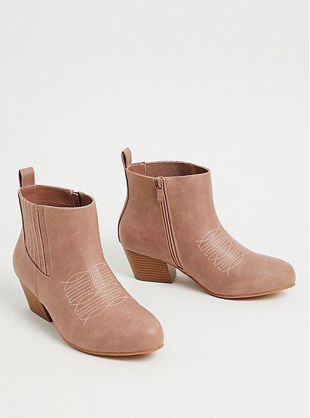 Blush Pink Faux Leather Cowboy Bootie (WW), BLUSH, alternate