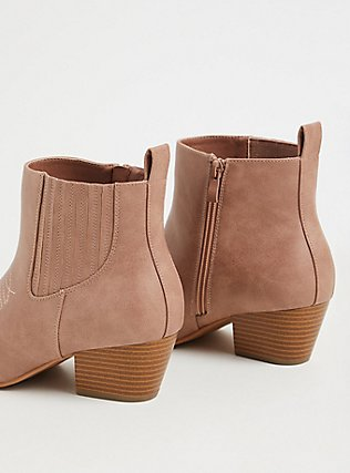 Blush Pink Faux Leather Cowboy Bootie (WW), BLUSH, alternate