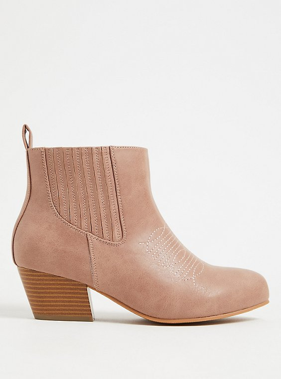 Plus Size Blush Pink Faux Leather Cowboy Bootie (WW), , hi-res