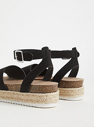 Black Faux Suede Cork Espadrille Flatform (WW), BLACK, alternate