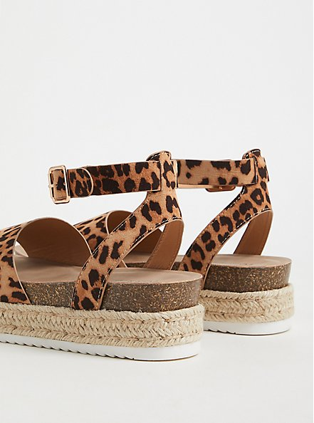 Leopard Faux Suede Espadrille Cork Flatform (WW), ANIMAL, alternate
