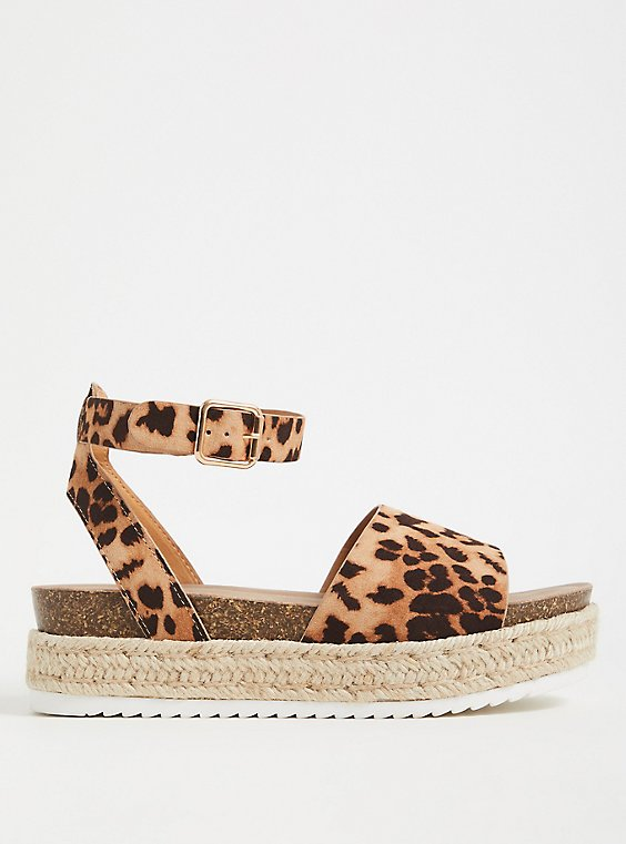 Plus Size Leopard Faux Suede Espadrille Cork Flatform (WW), , hi-res